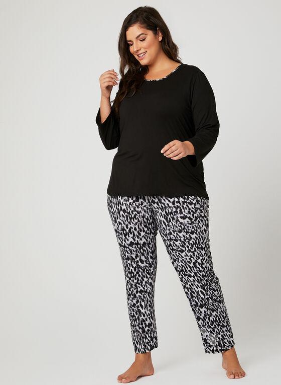 Pyjama 2 pièces motif léopard, Gris, hi-res