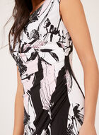Abstract Print Faux Wrap Dress, Purple, hi-res