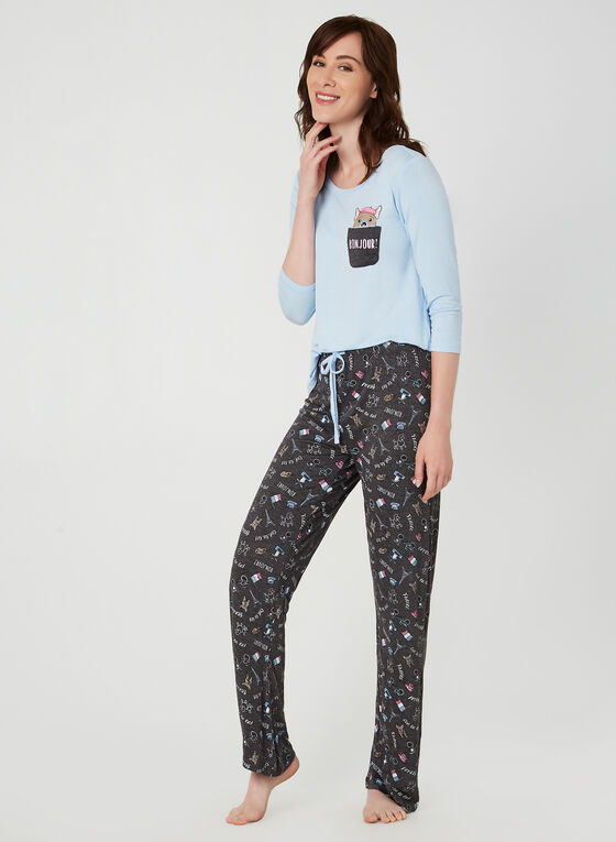 Pillow Talk - Pyjama deux pièces à motif chien parisien, Rose