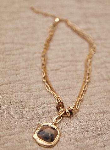 Collier court à chaîne dorée et pendentif animal, Brun,  automne 2021, bijoux, collier, court, maillons dorés, chaînes doubles, petite maille, maille large, pendentif, résine, impression, animal, motif, léopard, anneaux