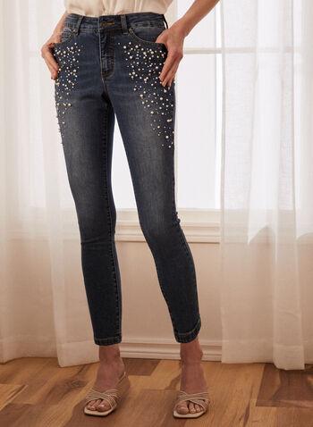 Jeans étroit à détails perles, Bleu,  jeans, denim, étroit, 5 poches, perles, automne hiver 2020