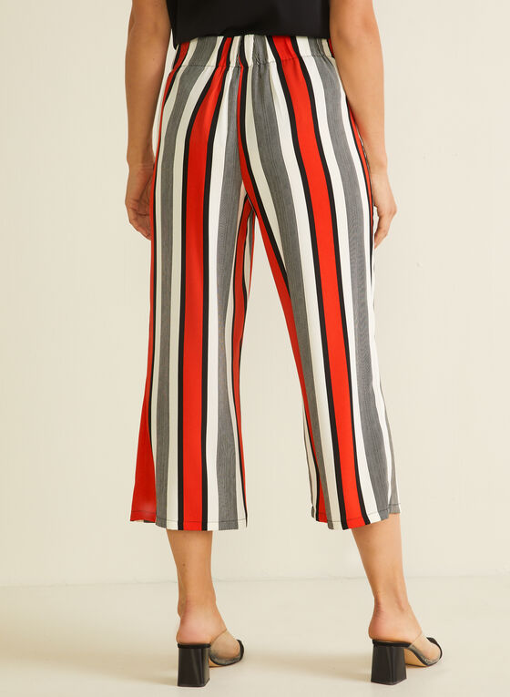 Stripe Print Gaucho Pants, Red