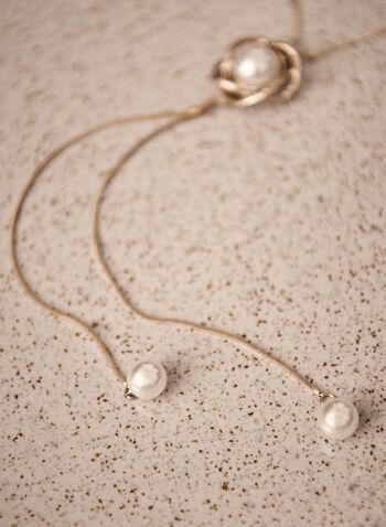 Collier en Y à perles, Blanc cassé,  collier, accessoire, bijou, collier en y, ajustable, perles, rang simple, doré, automne 2021