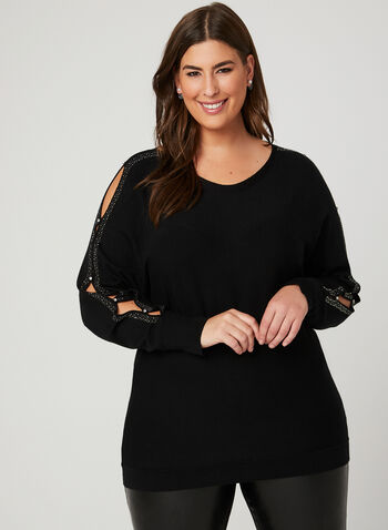 Embellished Dolman Sleeve Sweater, Black, hi-res