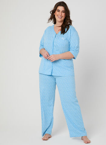 Bellina - Star Print Pyjama Set, Blue, hi-res