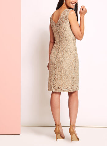 Sequin Lace Sunburst Pleated Dress, Off White, hi-res