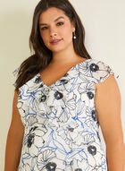 Floral Print Faux Wrap Dress, White