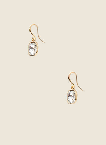 Faceted Stone Dangle Earrings, Gold,  earrings, dangle, fish hook, stone, faceted, metallic, spring summer 2021
