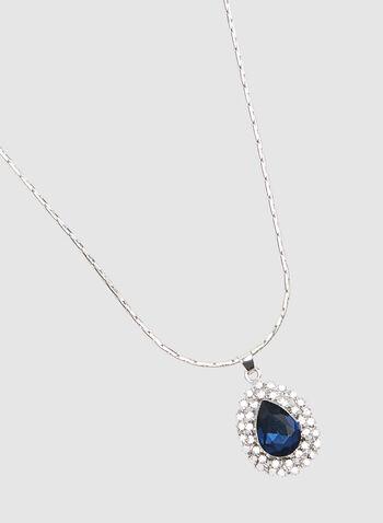Crystal Pendant Necklace, Blue, hi-res