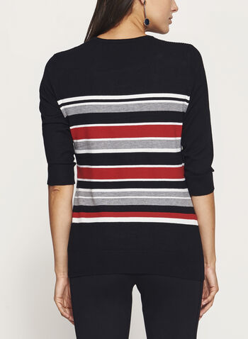 ¾ Sleeve Stripe Print Sweater, Red, hi-res