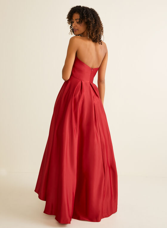 Strapless V-Neck Satin Ball Gown, Red