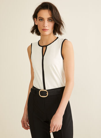 Sleeveless Contrast Top, Off White,  canada, sleeveless top, top, crepe top, crepe, contrast top, spring 2020, summer 2020