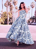 Baroque Print High-Low Ball Gown, White, hi-res