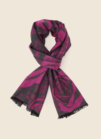 Foulard à motif de roses , Rose,  foulard, écharpe, hiver, motif, roses, automne hiver 2020, réversible,