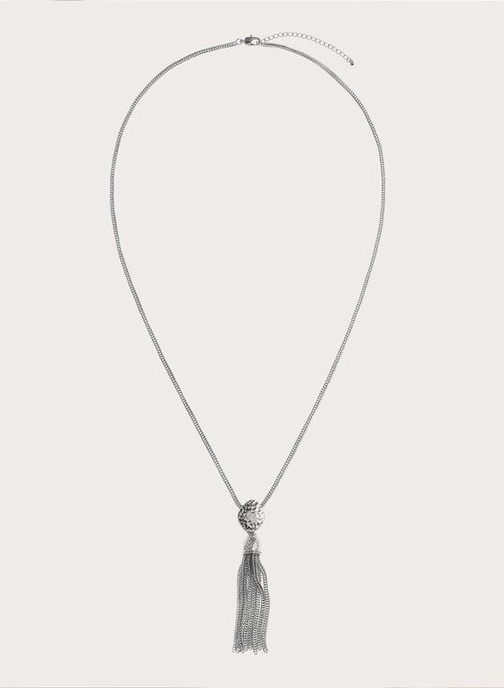 Collier sautoir argenté pendentif à pampilles, Argent, hi-res