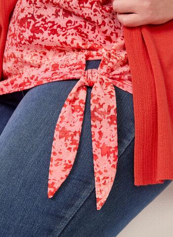 Tie Die Print Top, Red, hi-res