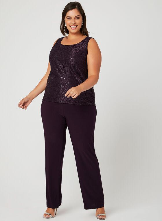 Sequin Lace Pantsuit, Purple, hi-res