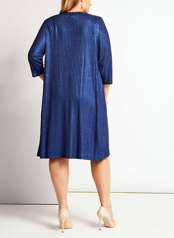 Lurex Rib Knit Dress, Blue, hi-res