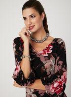 Robe à motif floral et manches ballon , Noir, hi-res