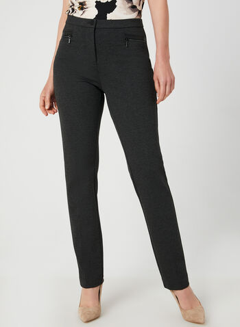 Signature Fit Straight Leg Pants, Grey,  signature fit, straight leg, shaped hips, ponte de roma, high waist, fall 2019, winter 2019