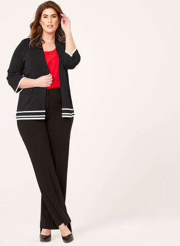 Ribbed Collar Stripe Knit Cardigan, Black, hi-res