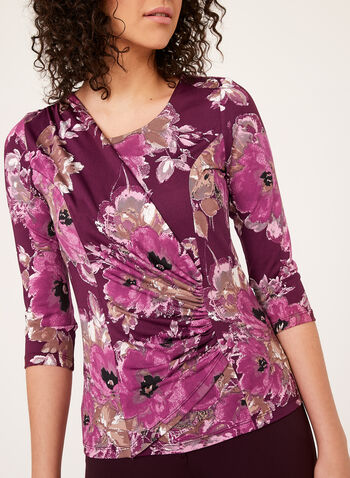 Floral Print Drape Effect Top, Multi, hi-res