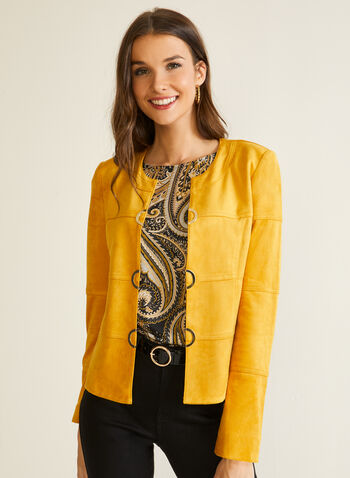 Vex - Eyelet Detail Faux Suede Jacket, Yellow,  fall winter 2020, jacket, faux suede, metallic, eyelets, made in canada