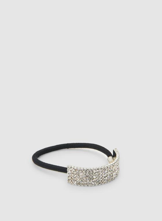 Crystal Embellished Cuff Elastic, Silver, hi-res