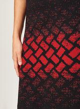 Jupe crayon en tricot moucheté et motif géométrique, Noir, hi-res