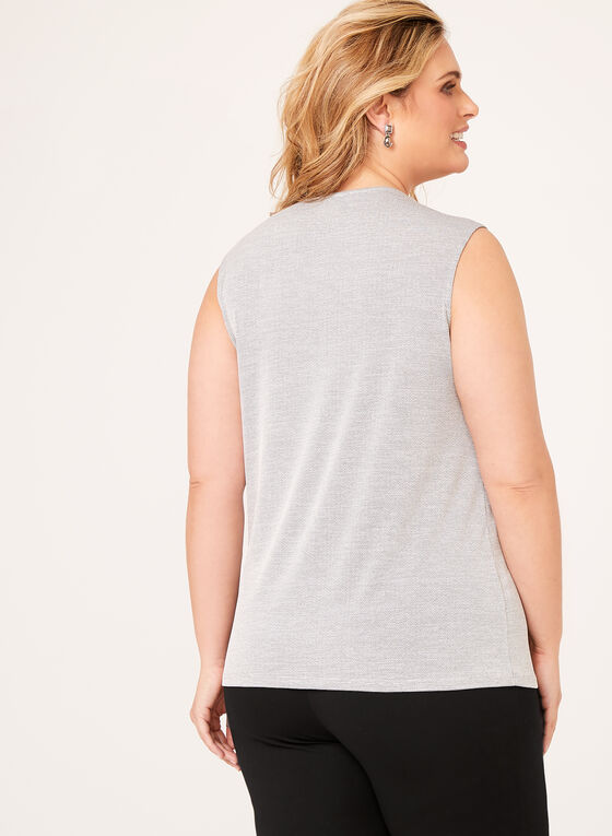 Square Neck Jersey Knit Top, Grey, hi-res