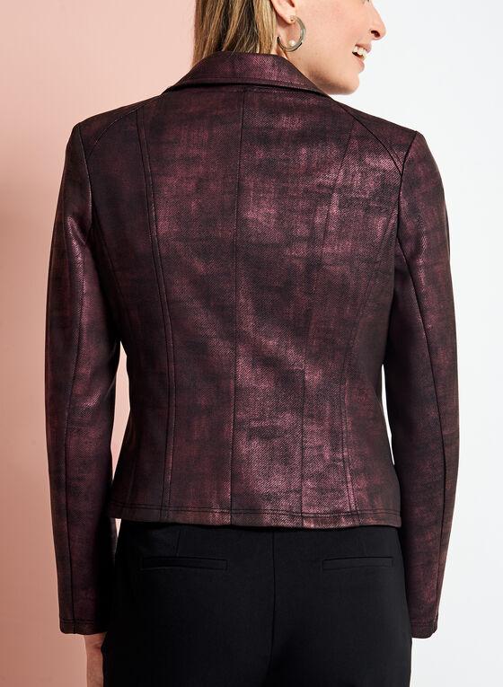 Blazer ouvert aspect cuir irisé et détail zip, Rouge, hi-res