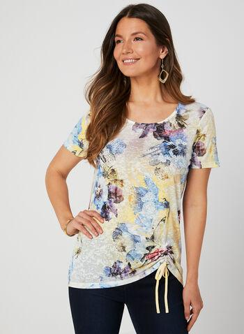 Floral Print T-Shirt, Blue, hi-res,  t-shirt, short sleeves, floral print, rhinestones, drawstring, burnout, fall 2019, winter 2019