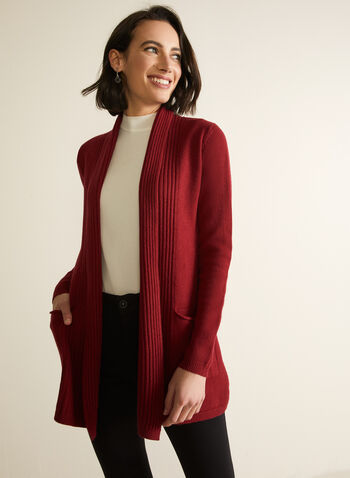 Open Front Shawl Collar Cardigan, Red,  knit, cardigan, open front, long sleeves, rib knit, pockets, shawl collar, fall winter 2020
