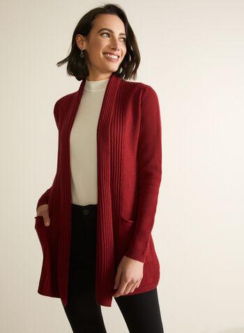 Cardigan ouvert à col châle , Rouge,  tricot, cardigan, coupe ouverte, col châle, manches longues, automne hiver 2020