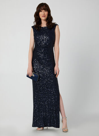 Sequin Evening Dress, Blue, hi-res,  evening dress, sleeveless, boat neck, slit at hem, fully lined, sequin, ruched waist, back drape, fall 2019