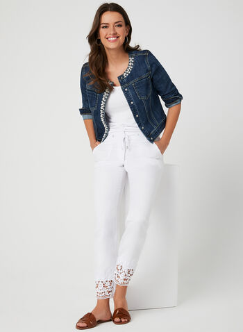 Modern Fit Straight Leg Pants, White, hi-res,  Modern Fit, pants, drawstring, linen, wide leg, spring 2019