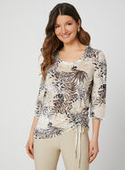 Palm Print ¾ Sleeve Top, Green, hi-res