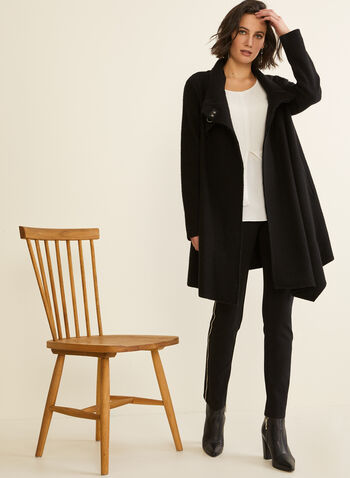Carré Noir - Boiled Wool Coat, Black,  coat, boiled wool, clip, asymmetric, fall winter 2019