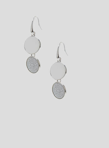 Tiered Disc Dangle Earrings, Silver, hi-res