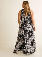 Robe fleurie à cristaux à la taille, Noir