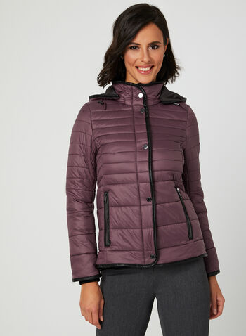 Novelti - Lightweight Quilted Coat, Purple, hi-res