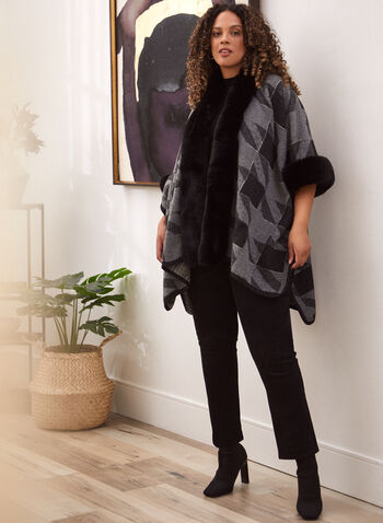 Faux Fur Trim Houndstooth Poncho, Grey,  fall winter 2021, accessories, poncho, wrap, shawl, cover up, cape, faux fur, fur, elbow sleeve, open front, houndstooth, warm, soft, winter accessories