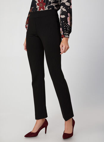 City Fit Stripe Print Pants, Black, hi-res,  pants, Ponte de Roma, mid rise, slim leg, slim thighs, stripe print, pull on, straight hips, contour waist, fall 2019, winter 2019