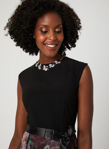 Floral Print Ball Gown, Black, hi-res