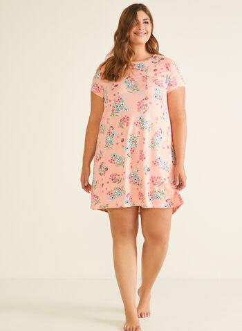 Chemise de nuit motif floral, Orange,  pyjama, chemise de nuit, feuilles, fleurs, manches courtes, printemps été 2020
