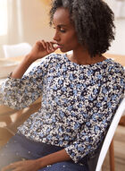 Puffed Sleeve Floral Print Top, Blue