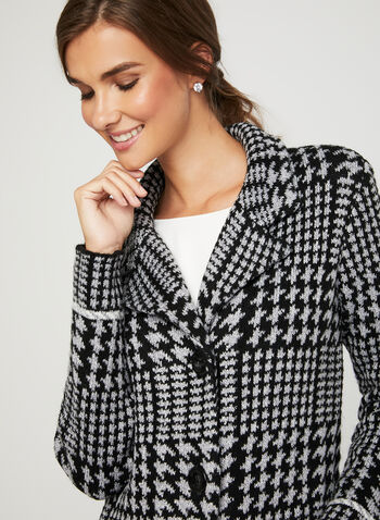 Houndstooth Knit Cardigan, Black, hi-res