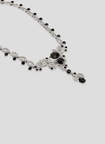 Faceted Crystal Dangle Necklace, Black, hi-res