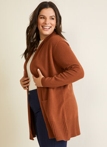 Open Front Mid-Length Cardigan, Brown,  knit, cardigan, open front, long sleeves, rib knit, pockets, fall winter 2020