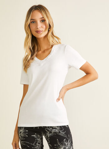 Lace Neckline Cotton T-Shirt, White,  t-shirt, cotton, lace neckline, short sleeves, scoop neck, spring summer 2020